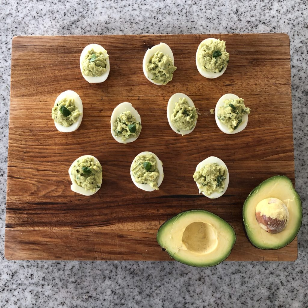 Avocado/basil deviled eggs